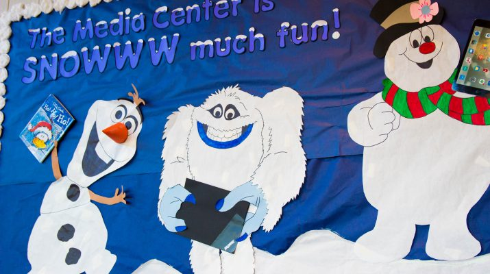 """Bulletin board that says, """"The Media Center is SNOW much fun."""""""
