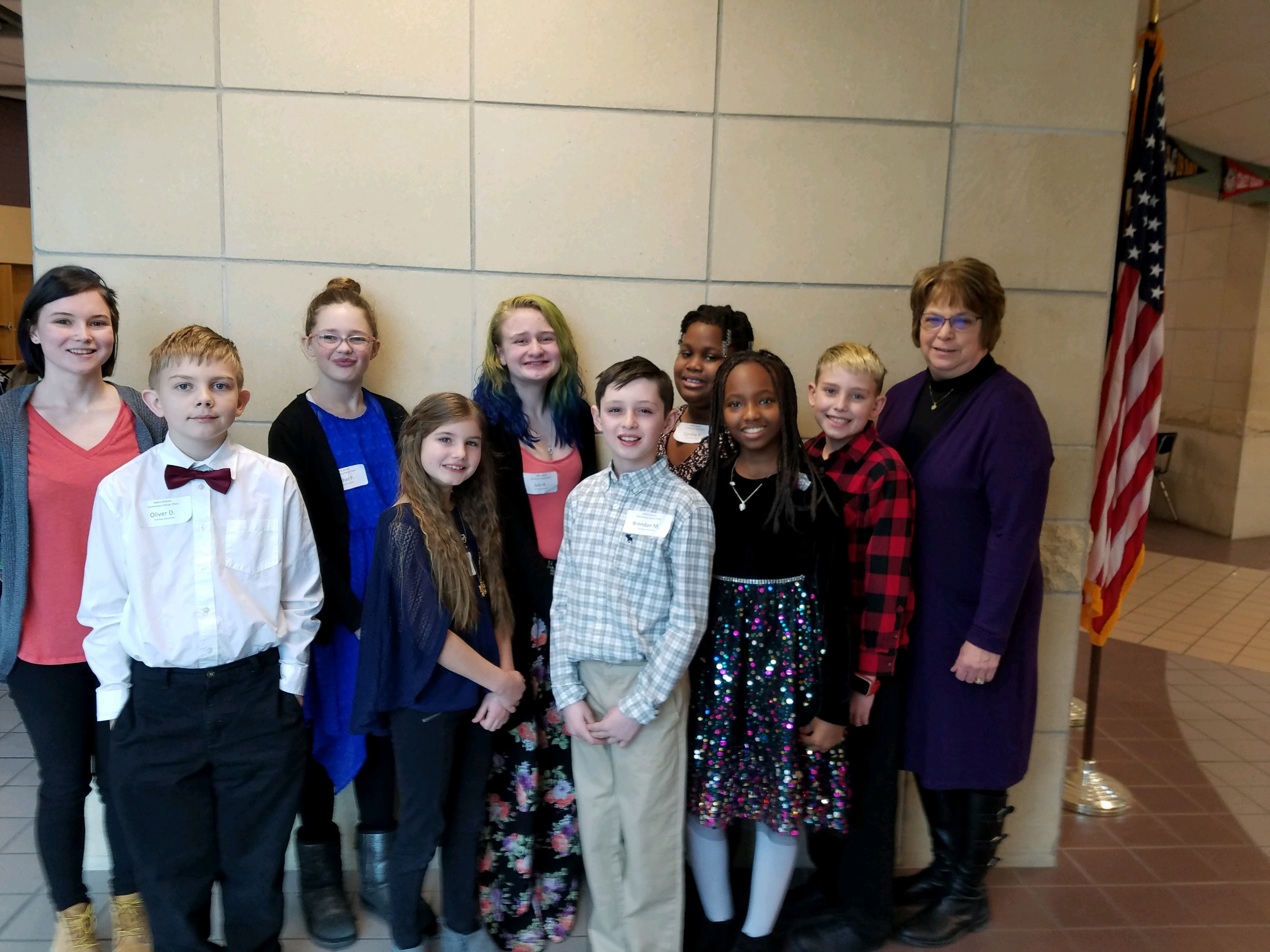 8 Students and 2 teachers pose for Elementary Honor Choir photo